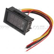 Панельный вольт-амперметр 100V 10A красный вариант 2